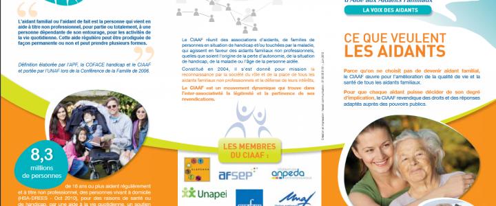 CIAAF : Une plaquette pour la reconnaissance des aidants familiaux